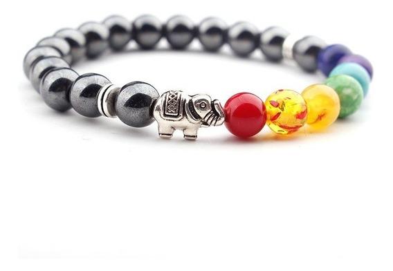 Pulseira 7 Chakras Terapêutica Pedras Hematitas E Elefante