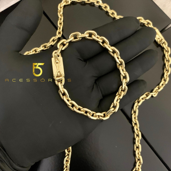 Kit Cordão E Pulseira 8mm Cadeado Banhado A Ouro Ostentação