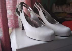 Zapatillas Hermosas De Piel, Color Blanco, Talla 24.5