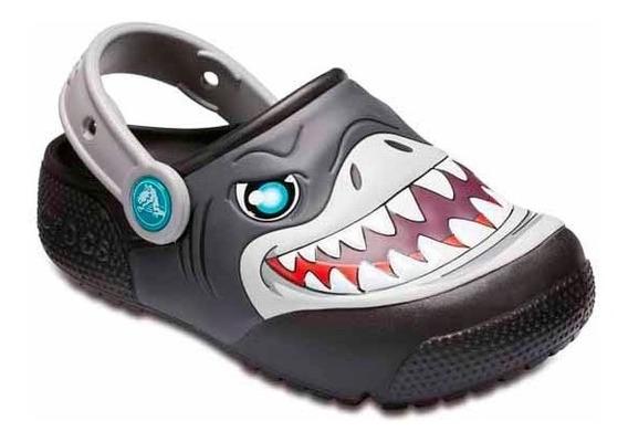 Crocs Fun Lab Lights Clog K Tiburon Niños Luces Abc Deportes