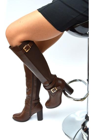Bota Feminina Montaria Com Elástico Salto Quadrado R 58