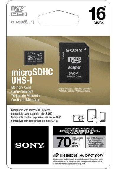 Memoria Micro Sd Sony 16gb 70mb/s
