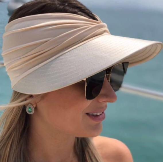 Viseira Feminina Com Proteção Solar Uv50+ Turbante Promoção