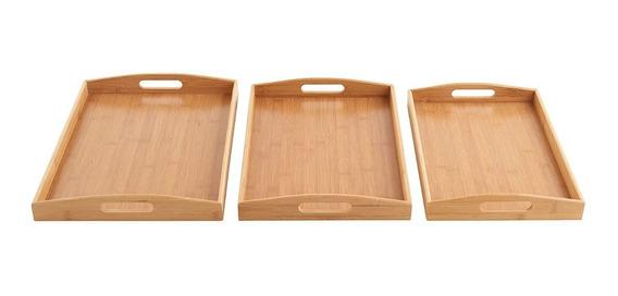 Bandeja De Bambu Set X 3 Bandeja Manija Bamboo Kit Desayuno