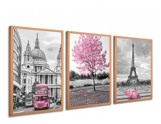 Quadro Decorativo Árvore Cidade Rosa Moldura Rose Gold Sala