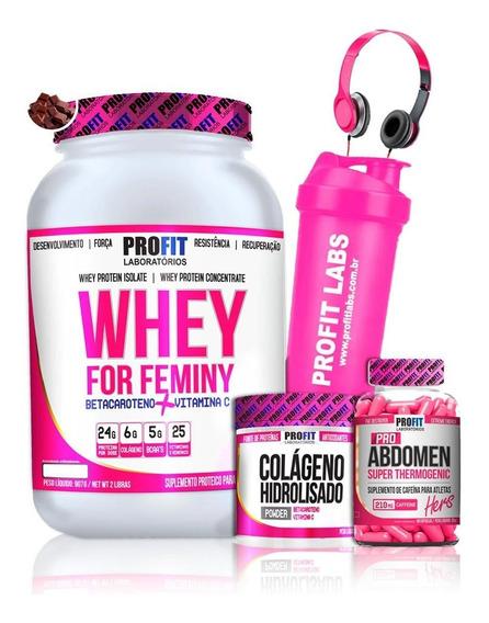 Kit Whey Femini + Colágeno + Pro Abdomem + Coq + Fone Profit