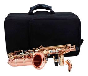 Sax Soprano Curvo Sib Gold Brass Semi-profissional Zion
