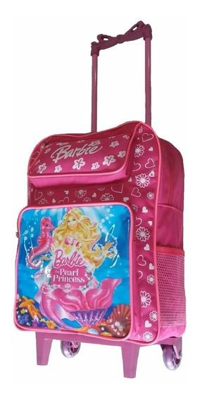 Mochila Infantil Barbie Meninas Linda Escolar Com Rodinhas G