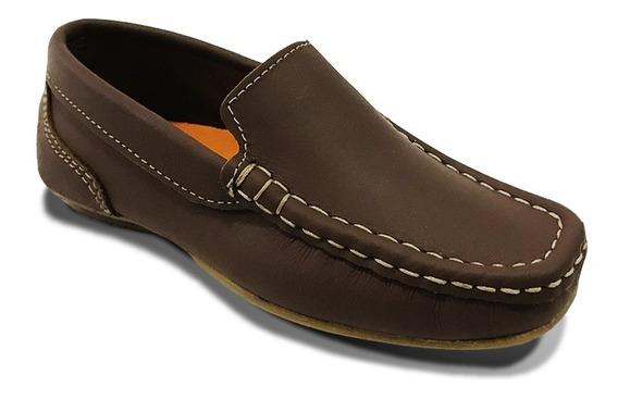 Zapato Mocasín 100% Cuero Elegante Niño Café Negro Formal