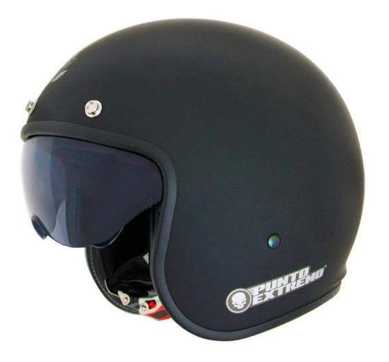 Casco Moto Abierto Con Visor Negro Mate X581 Punto Extremo