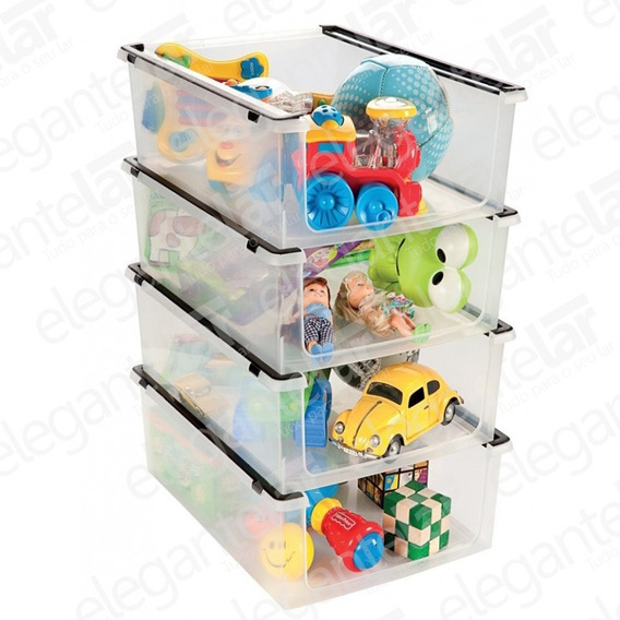 4 Caixa Organizadora Brinquedos Multiuso Empilhável Ordene