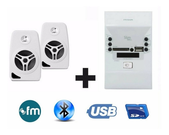 Som Ambiente Frahm Bluetooth+ 4 Caixa Branca Suporte Parede