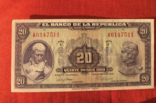 Imagen 1 de 2 de Billete Colombiano Antiguo De 20 Pesos Año 1947, Muy Bueno