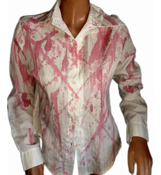 Camisa Verano Diseño En Blanco Y Rosa Chicle..talle M