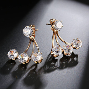 Brinco Feminino Dourado Folheado Ouro 18k Cristal Brilhante