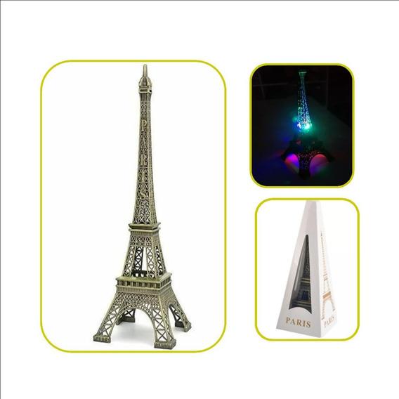 16 Torres Eiffel Metalica Luminosa 18 Cm Centro De Mesa Led