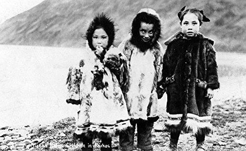 Alaska - Niños Nativos En Parkas (12x18 Lámina, Póster De