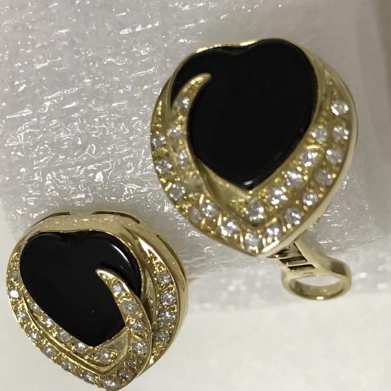 Par De Brincos Em Ouro 18k-750 Com Diamantes E Pedra, 11.1 G