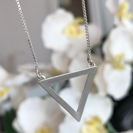 Colar De Prata 925 Triângulo Liso 2cm