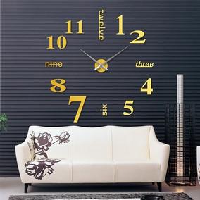 Relógio De Parede Grande Decoração Sala Escritório Dourado