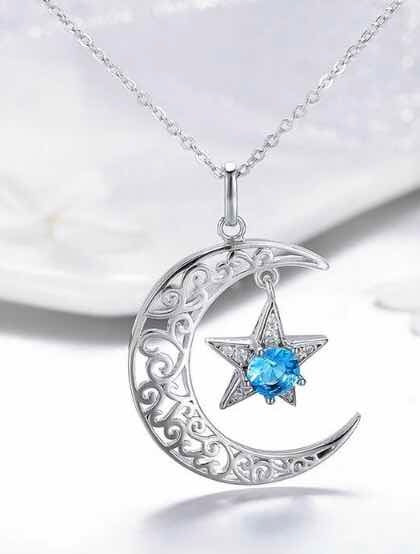 Collar De Luna Y Estrella Collar Turco Plata 925