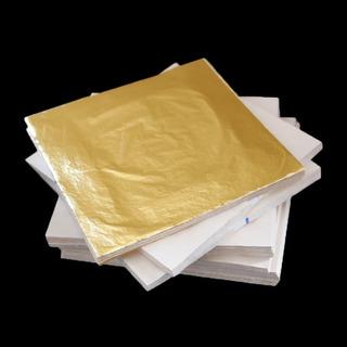 Hojas (100) De Oro Imitacion 14 Cm X 14 Cm + 1 Pegamento
