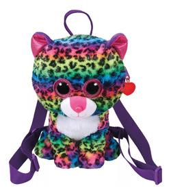 Mochila De Pelúcia Ty Fashion Onça Colorida Dotty Rainbow