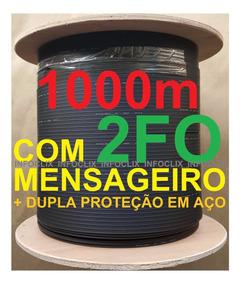Cabo Fibra Óptica Drop 2fo 1000m Mensageiro Monomodo Sm Clix