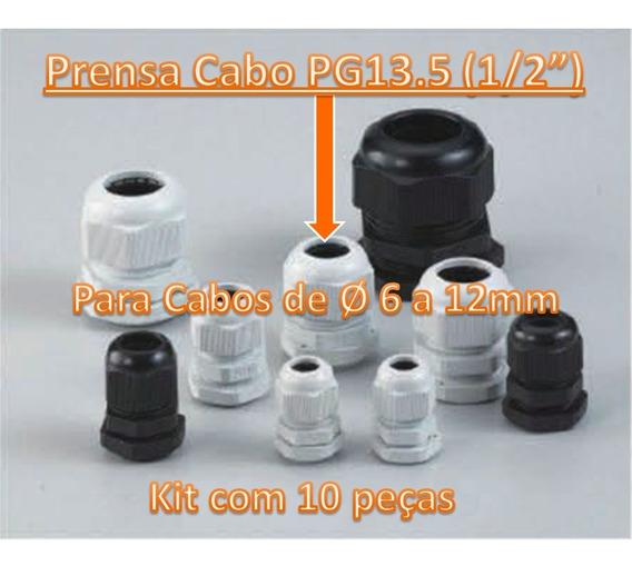 Kit 10 Prensa Cabo Pg13.5 (1/2 ) Cor Cinza Rosca Bsp Ø 20mm