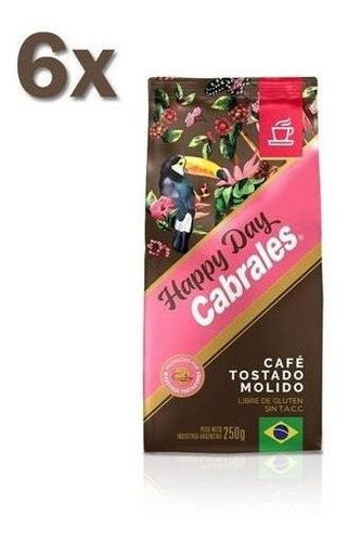 6x Cafe Molido Cabrales Happy Day 250gr 1,5kg Sin Tacc
