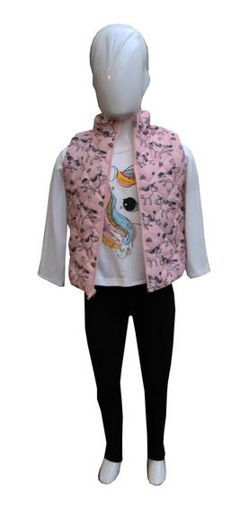 Conjunto Unicornio Niña (blusa+ Chaleco + Mallon) Exclusivo