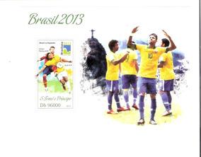 Bloco De São Tomé E Príncipe - Futebol - Neymar - Hulk !!!