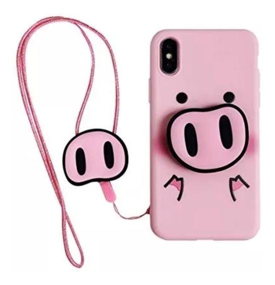 Funda Para Galaxy iPhone Huawei Xiaomi Cerdito Cordón Slim