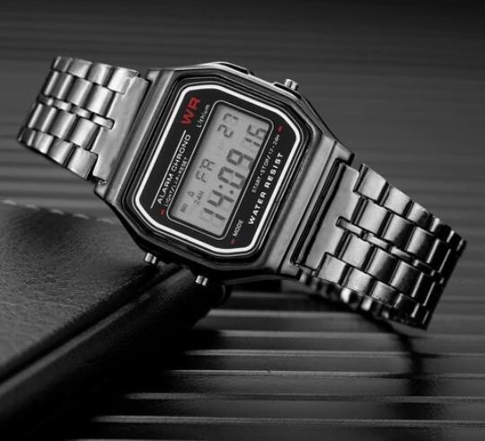 Relógio Digital Vintage Preto Barato Oferta