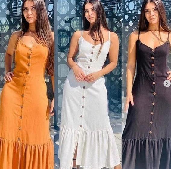 Vestido Feminino Longo Viscolinho Liso Ajustável Blogueiras