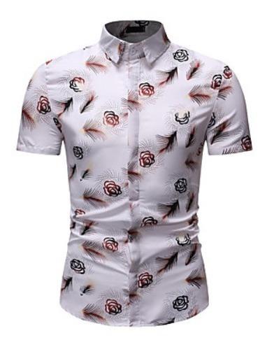 Camisa De Hombre Estampado, Cuello Ingles, Manga Corta