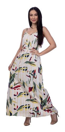 Imagem 1 de 6 de Vestido Longo Estampa Floral Fundo Azul Bege Fashion