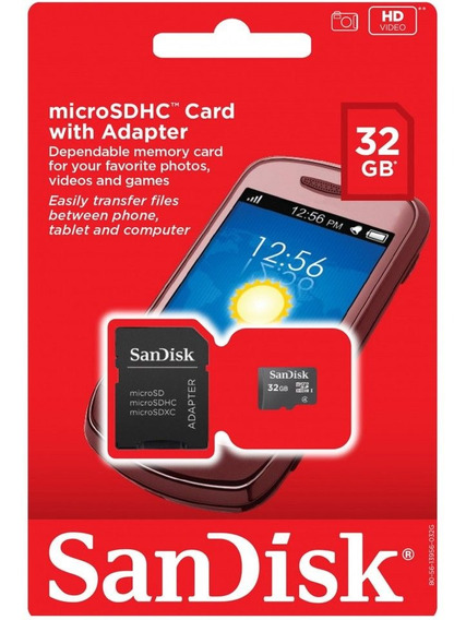 Cartão De Memória Micro Sd 32 Gb Com Adaptador Sandisk