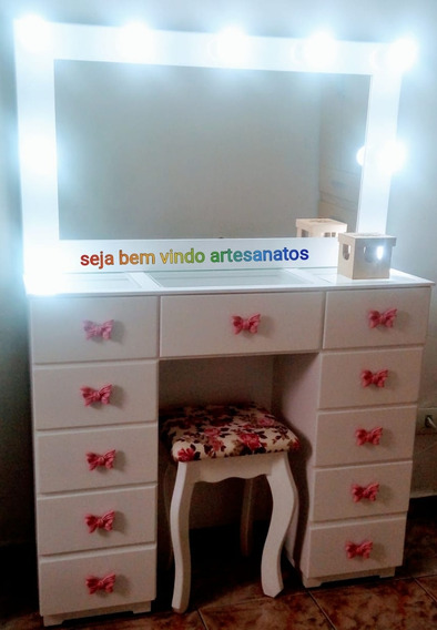 Penteadeira Camarim 11 Gavetas Com Espelho + Brinde !!!