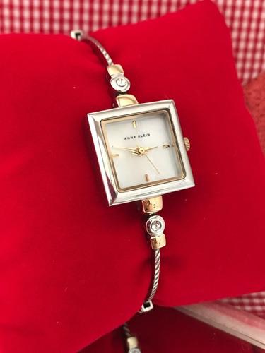 Relógio Anne Klein Modelo Square Com Cristais Swaroski Luxo!