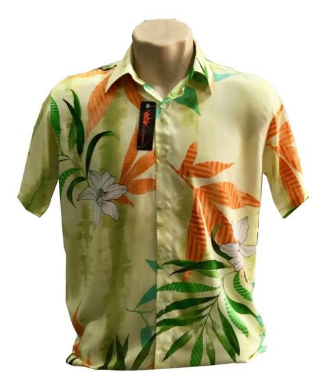 Camisa Floral Havaiana De Viscose Manga Curta