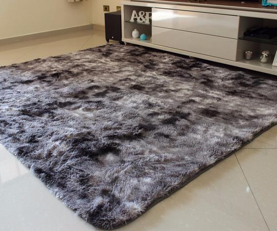 Tapete Sala/quarto Cinza Claro Mescl 1,00x1,50 ( Fios 4cm )
