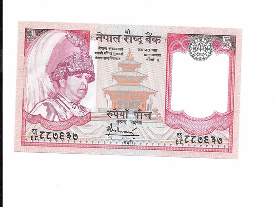 Liquido Excelente Billete De Nepal. 5 Rupias 2004 Unc