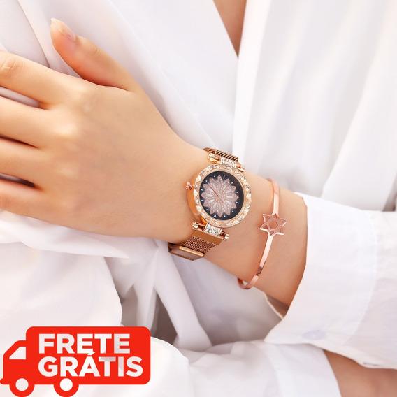 Relógios Luxo Senhoras Aço Inoxidável Pulseira Magnética