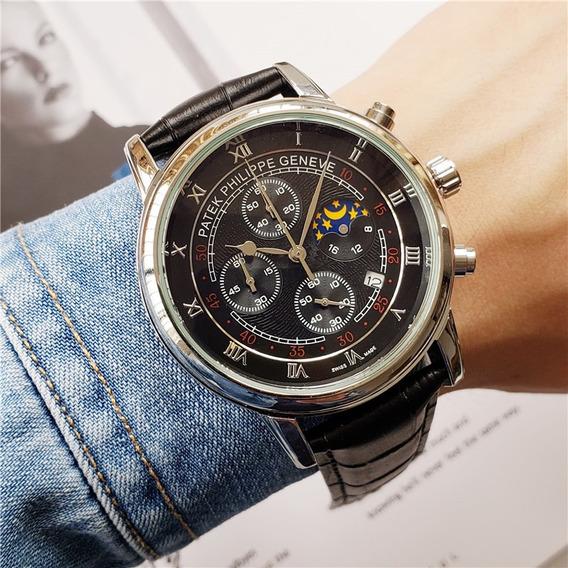 Relógio Patek Philippe - Calendário Lunar + Caixa De Brinde