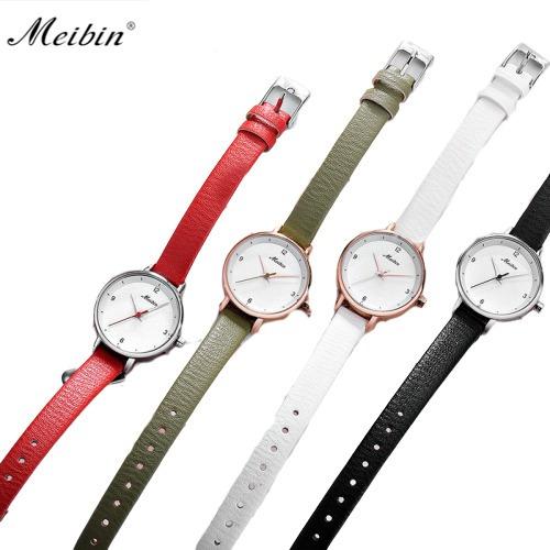Meibin Reloj Casual De Moda Elegante Original Piel 5 Colores