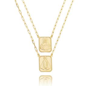 Maxi Escapulário Corrente Cartier Elos Dourado Semijoia Ouro