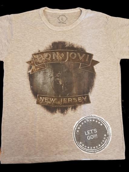 Bon Jovi New Jersey Remera Manga Corta Hombre