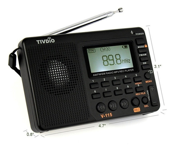 Rádio Tivdio V-115 Am/fm/sw Mp3 Player Display Lcd C/bateria