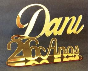 Topo De Bolo Em Acrílico 2mm Espelhado Dourado Oferta